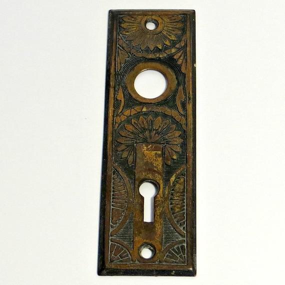 Victorian Embossed Metal Door Plate Antique Door Back Plate Ornate Eastlake Style Backplate Key Hole Plate Fancy Door Hardware #63 & Victorian Embossed Metal Door Plate Antique Door Back Plate