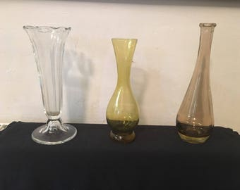 3 vintage bud vases vgc cute collectable