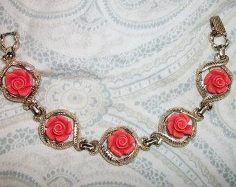 Vintage Sarah Coventry Coral Lucite Rose Flower Bracelet