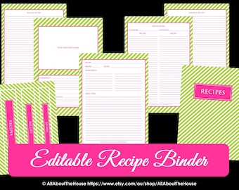EDITABLE Recipe Binder Printables Recipe Sheet Recipe Card Recipes to Try Template PDF Editable Binder Cover Spine Favorite Recipes Preppy