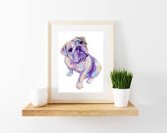 Bulldog Art Print, Bulldog Art, Minimalist, Dog Wall Print, Bulldog Wall Decor, Bulldog Watercolor Painting, Dog Painting, Bulldog Artwork