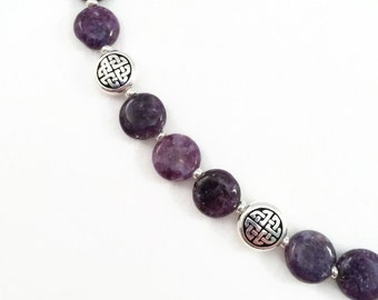 Purple Lepidolite Stone Necklace with Silver Celtic Labyrinth Beads