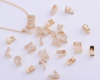 initial charm/pendant, letter charm/pendant, alphabet charm/pendant, 14k gold CZ zirconia micro pave charm, A-Z 26pcs