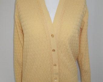 Vintage 70s lemon granny style cardigan by Warmspun size large