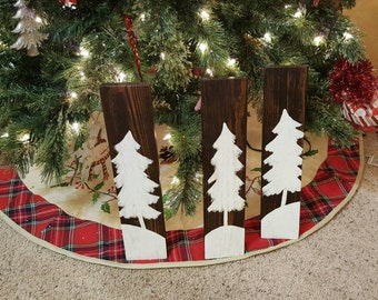 Set of 3 Wooden Tree Sign, Wood Signs, Wood Signs Christmas, Christmas Decor, Primitive Decor, Farmhouse Christmas, Primitive Christmas