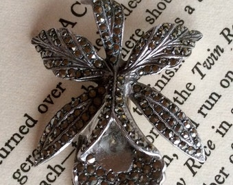Sterling Silver large Orchid brooch