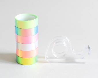 Sample holo tapes, holographic masking tape, iridescent tape, holographic stationery