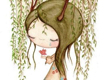 Willow Tree Print Art Girl Bird Weeping Willow Wall Art---Leaving The Nest