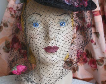 1930s -1940s tilt hat, fabric anemonies and veil, Swan & Edgar
