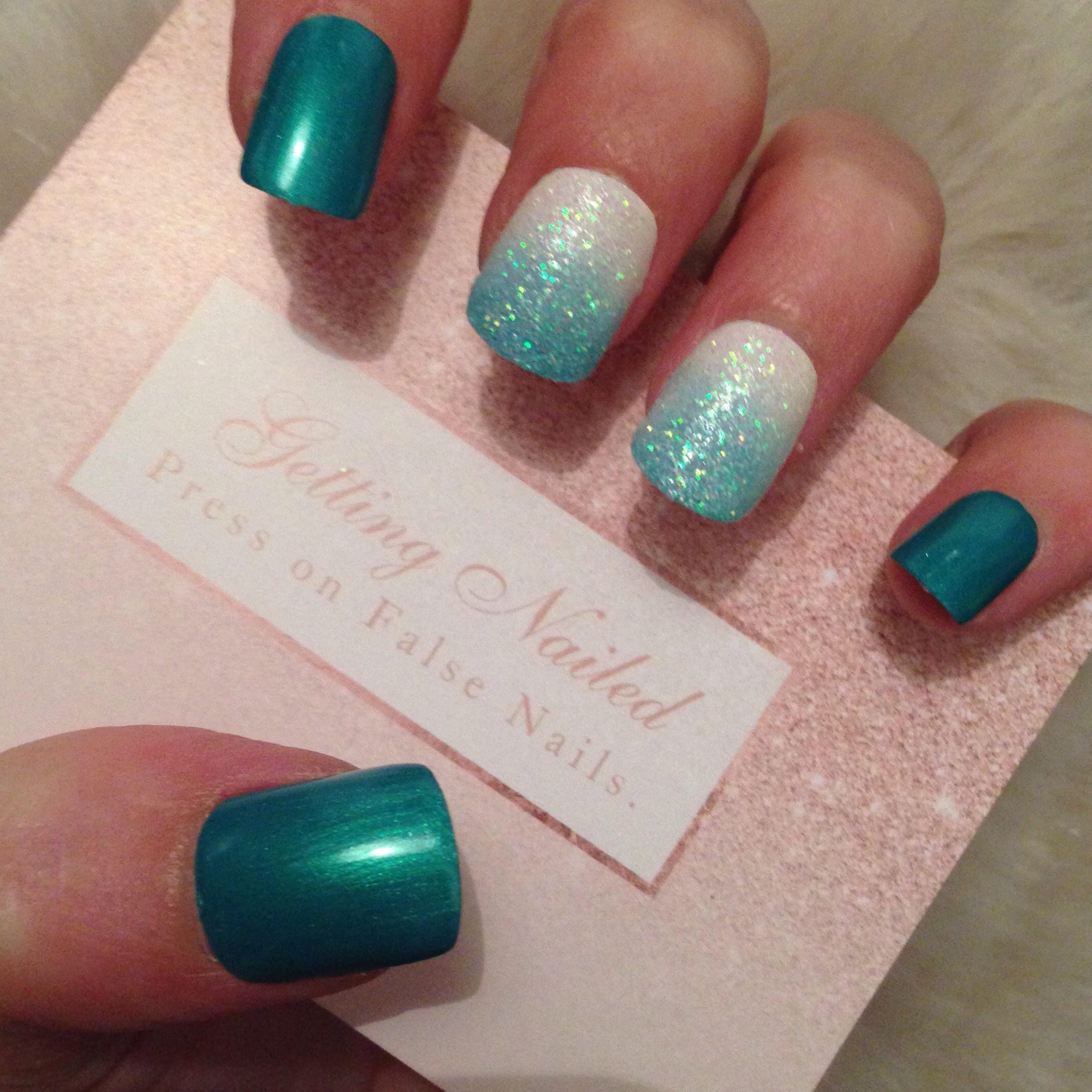 False nails set, mermaid blue and white with holographic glitter ...