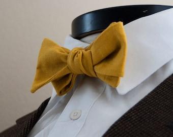 The Lennon - Our linen bowtie in saffron yellow