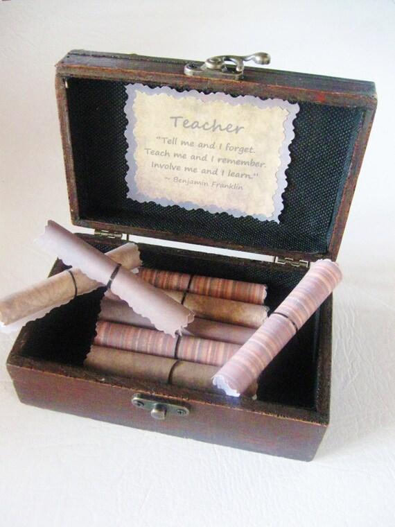 Teacher Scroll Box, Personalized Teacher Gift, Teacher Christmas Gift, Teacher Quotes in Wood Chest, Teacher Birthday, Teacher Gift Idea