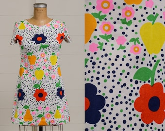 60s Dolly Dress Bright Floral & Polka Dot Psychedelic Mini Dress