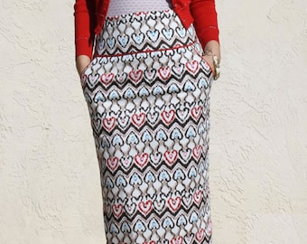 High Waist Pencil Skirt with Pocket, Heart Pattern Pencil Skirt, Tailored Pencil Skirt, Knee Length Skirt, Office Skirt, Midi Skirt