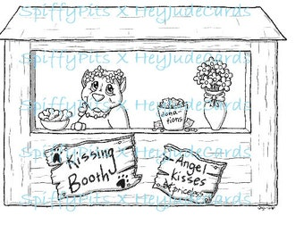 Digital Stamp or Coloring Page - Angel Kissing Booth!!!  In Support of Stand Up For Pits Angel Day!  All Proceeds to SUFP!!!