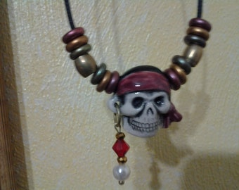 Pirate Skull with jewels necklace Vegan