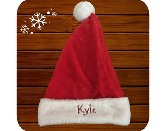 Personalised Embroidered Classic Plush Red Santa Hat
