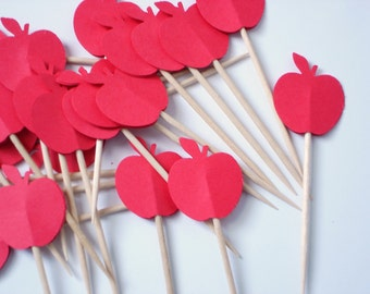 24 Red Apple Cupcake Toppers, Apple Party Decorations, A is for Apple -  No325