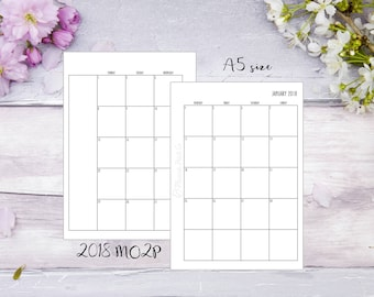 MO2P | A5 | 2018 | Month on 2 pages | Planner | Insert | Jun-Dec