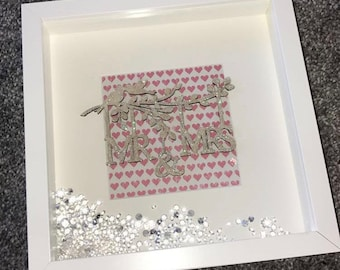 Special Offer! Mr & Mrs Wedding New Couple Box Frame *Last One*