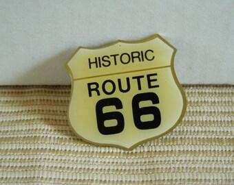 Vintage Metal Vest, Hat, Lapel Pin of Historic Route 66 Highway