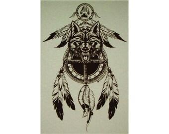 Medicine Wheel Shield Wolf Spirit Native American Indian T-Shirt BR