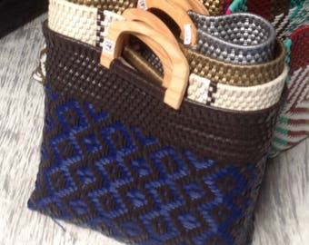 Hand woven purses with wooden handles