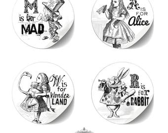 "cute as a button ""8 Sticker Set *W is for WONDERLAND*"""