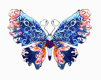 11x14 Snow Swirls Butterfly Print