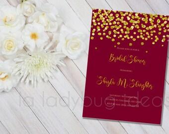 Printable Bridal Shower Invitation, Burgundy and golden confetti, Invitacion Despedida de Soltera. Digital Printable wedding Invite.