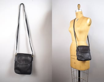 Vintage Coach Black Leather Flap Saddle Crossbody Bag Purse