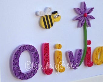 Quilled Bee & Flower Nursery Decoration,Child's Personalised Name Frame,  Personalised Baby Gift, Child's Keepsake, Personalised Girls Gift