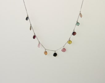Multi Color Tourmaline Cleopatra Necklace Set In 14K White Gold