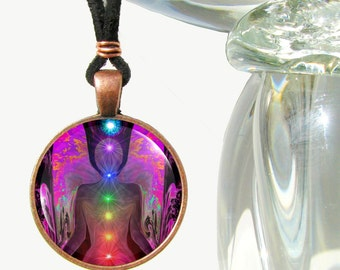 "Chakra Art, Angel Necklace, Reiki Energy Unique Jewelry ""Balance Within Chaos"""