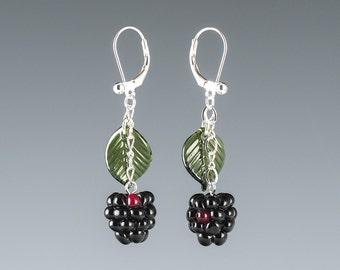 Blackberry Earrings lampwork bead jewelry hand blown glass art Birthday gift, Mother's Day gift for gardener, gourmet cook, chef