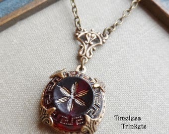 Antique Glass Button Necklace, Cranberry Glass, Red, Gold Highlights, Greek Key Design, Antique Brass Finish