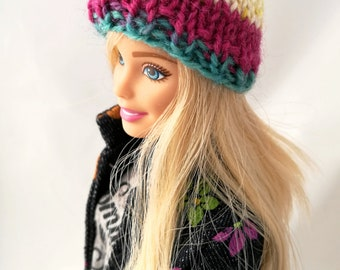 Barbie hat, knitted beanie, colorful doll hat