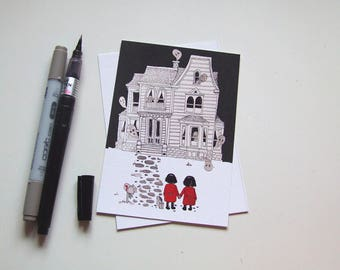 Haunted House and Two Lost Girls - Inktober Postcard Collection [Halloween]