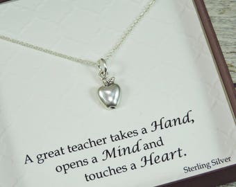 Teacher Appreciation Necklace - Sterling Silver Necklace - Apple Charm - Teacher Necklace - Gift For Teacher - Apple Necklace
