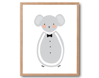 Baby Nursery Decor, Baby Mouse Art Print, Mouse print, Bow Tie Print, Animal Illustration, Children Room Decor, Kids art, home decor