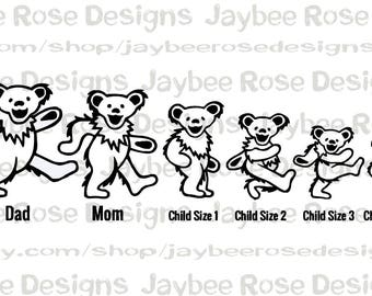 Grateful Dead Dancing Bears Personalized Stick Figure Family Car Decal,  Custom Gift,Wedding or