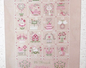 INSTANT DOWNLOAD Shabby Spring Calendar PDF cross stitch patterns Cuore e Batticuore garden Easter bunny rabbit eggs