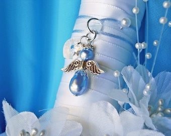 Something Blue Wedding Bouquet Charm Angel Bouquet Charm Swarovski
