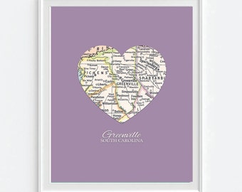 Greenville South Carolina Heart Vintage Map ART PRINT gift, housewarming moving christmas, fathers day, wedding gift, Christmas gift for her