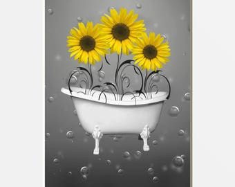 Yellow Gray Bathroom Wall Pictures, Sunflowers In Bathtub, Bubbles, Yellow Grey Home Decor Matted Picture