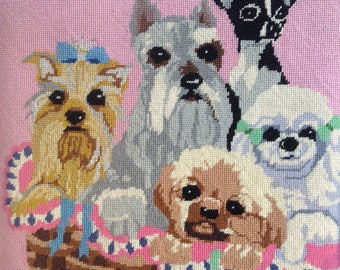 Vintage PUPPIES Shabby PINK NEEDLEPOINT French Provincial Prairie Cottage Chic