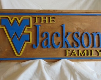 Customized WV WVU West Virginia Personalized Family Name Wall Sign
