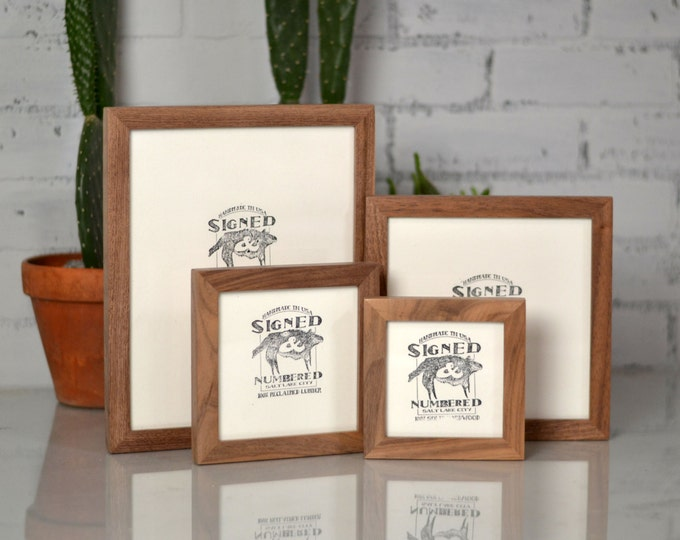 BASIC Picture Frame - Natural WALNUT Gallery Wall Frames - Choose Small Size: 3x3, 3.5x5, 2x6, 4x5, 4x4, 4x6, 5x5, 5x7, 6x6, 6x8, 7x7, 4x10