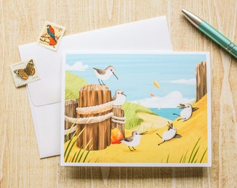 Beach Birds, Sand Pipers Greeting Card, Blank Card - Cute Card - Animal Card - Just Because - Any Occasion - Illustrated