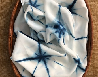 Hand Dyed Indigo & White Habotai Silk Scarf (S-72)